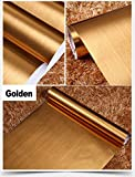 IHomee Brushed Metal Look Contact Paper Film Vinyl Self Adhesive Backing Waterproof Metallic Gloss Shelf Liner Peel and Stick Wall Decal for Covering Counter Top Kitchen Cabinet (24''x195'')