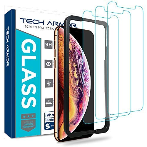 Tech Armor Ballistic Glass Screen Protector, Case-Friendly Tempered Glass, 3D Touch Accurate Designed for New 2018 Apple iPhone Xs MAX [3-Pack]