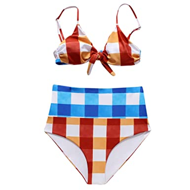 096fcbdb727 Amazon.com  Women Colorful Plaid Bikini Swimsuit Set High Waist Bottom Tie  Front Bra Bravetoshop  Clothing