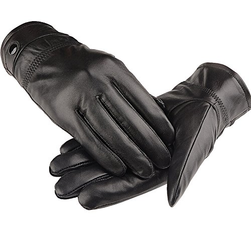 Eforstore Men's Winter Thermal Lambskin Leather Fleece Gloves with Touchscreen Technology Outdoor Cycling Gloves Cashmere