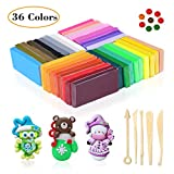Merryxgift Polymer Clay, 36 Colours Modelling Clay with Bright Color Soft Oven Bake Clay Set with 5 Tools and 25 Accessories, Clay Set Toy and Birthday Gifts for Kids (36 Colours)