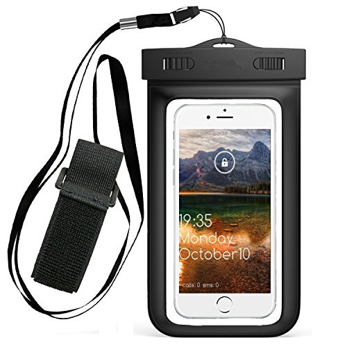 Price comparison product image Universal Waterproof Case with Armband, Premuim Quality Water Proof, Dustproof, Snowproof Pouch Bag,Fits iPhone 7 7 Plus, iPhone 6s 6 Plus, Galaxy S6 Up to 6.0 Inch (Black)