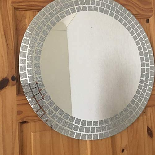 DEENZ 50cm Large Round Wall Mounted Mirror Frame less Bathroom Living Room square glitter corner