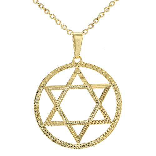In Season Jewelry 18k Gold Plated Star of David Charm Pendant Necklace Jewish Religious 19