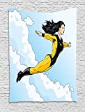asddcdfdd Superhero Tapestry, Asian Super-Heroine Floating in Sky Clouds Strong Woman Artwork, Wall Hanging for Bedroom Living Room Dorm, 60 W X 80 L Inches, Light Blue Yellow Black
