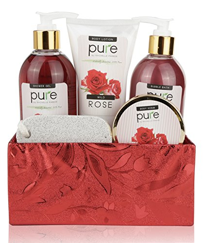 Pure! Rachelle Parker Rose Essential Oil Spa Gift Basket - Best Bubble Bath Gift for Women! Best Mothers Day Gift! Spa Basket Wrapped & Ready to Deliver Results!!