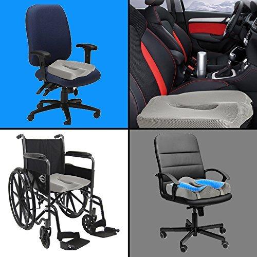 Ziraki Memory Foam Seat / Chair Cushion Orthopedic Coccyx Support Pillow 4 in 1 W/ Cooling Gel