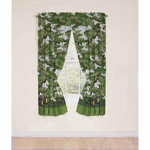 John Deere Curtains Panels Drapes, Green Tractor