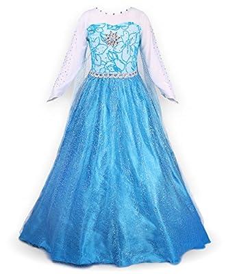 JerrisApparel Snow Queen Elsa Party Dress Costume Princess Cosplay Dress Up