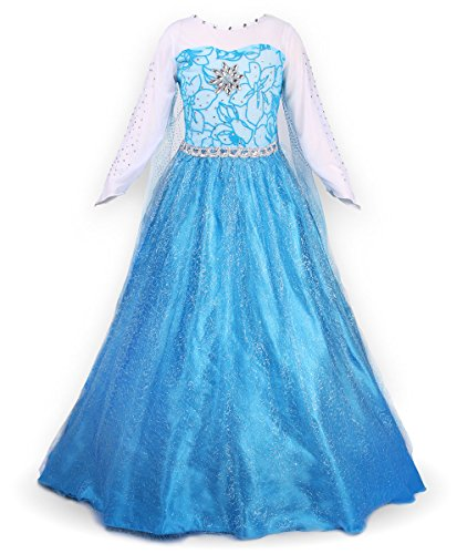 JerrisApparel Snow Party Dress Queen Costume Princess Cosplay Dress Up (5-6, Blue) (Elsa Costumes For Girls)