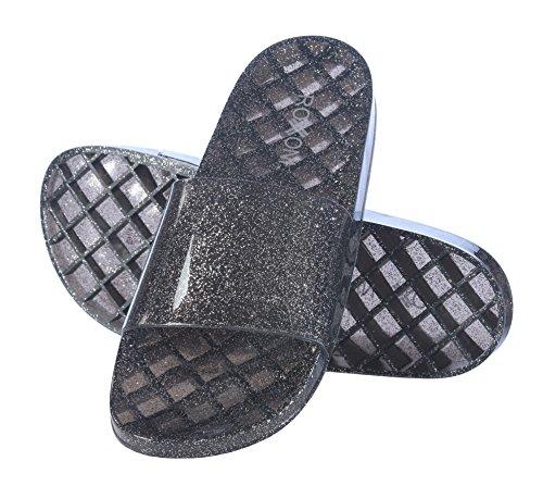 c63218f5f Roxoni Women s Slide Sandals Summer Flip Flop Open Toe Jelly Glitter  Slippers