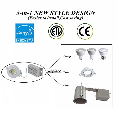 1 Pack TSCDY Gimbal Downlight IC Rated 3 Inch 8W(75W Replacement) Directional Adjustable Dimmable LED Retrofit Recessed Lighting Fixture 5000K Daylight 750LM Ceiling Flexible light With Junction (Large Halogen Replacement Lenses)