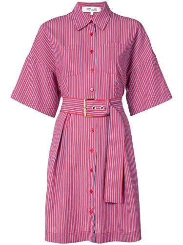 (Diane von Furstenberg S/S Button Up Belted Shirt Dress in Horizon Cherry)