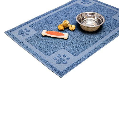 Cavalier Pets Medium Dog Bowl Mat for Cat and Dog Bowls, Silicone Non-Slip Absorbent Waterproof Dog Food Mat, Easy to Clean, Unique Paw Design, 24 by 16 Inch, Blue