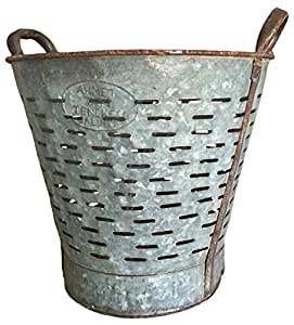 Authentic Found Vintage Mediterranean Olive Bucket, Galvanized Metal by Green Outfitters