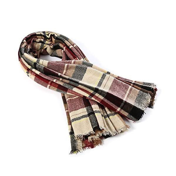 Zando Womens Winter Scarf Tassel Plaid Scarf Chunky Blanket Scarves Soft Lightweight Blanket Thick Large Wrap Shawl