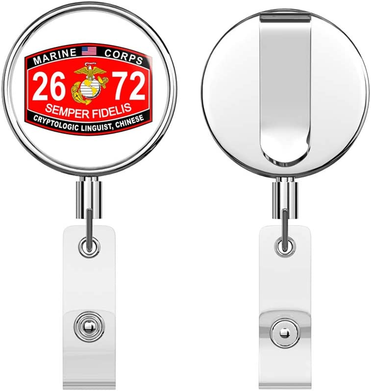 Marine Corps Cryptologic Linguist Chinese MOS 2672 Round ID Badge Key Card Tag Holder Badge Retractable Reel Badge Holder with Belt Clip