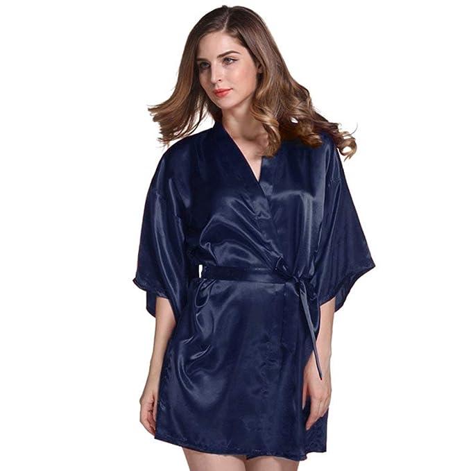 Vestido Corto para Mujer Satén Noche Calentamiento Ovejas Ropa Agradable Kimono Bata De Seda Pijama Pijama Camisón (Color : Dunkel Blau, ...