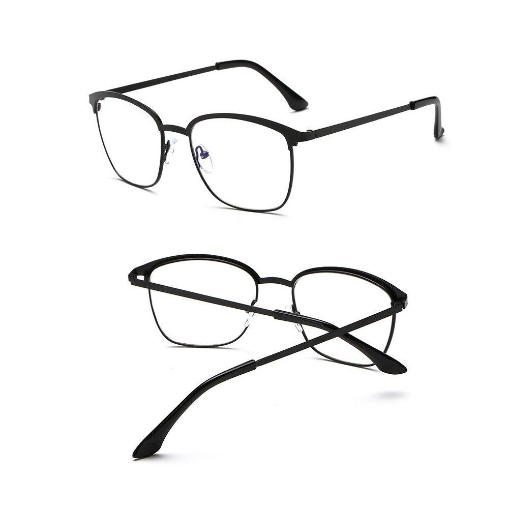 Hzjundasi Métallique plein cadre structure vintage anti lumière bleue claire lentille lunettes Une variété de verres carrés de couleurs dPbwj