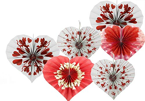 Adorox Set of 12 Romantic Valentines Day Heart Shaped Vibrant Bright Colors Hanging Paper Fans Rosettes Party Decoration for Holidays 8 12 16 Various Sizes Fiesta (2 Pack)
