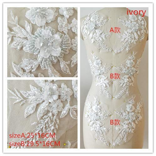 Hand Beaded Flower Sequence 3D Lace Applique Motif Sold by 3 Pairs Great for DIY Decorated Craft Sewing Costume Evening Bridal Top A6 (Ivory)