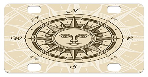Compass Mini License Plate by Lunarable, Vintage Compass Rose with Sun Shape Human Face Historical Design Illustration, High Gloss Aluminum Novelty Plate, 2.94 L x 5.88 W Inches, Beige - Illustration Face Shape