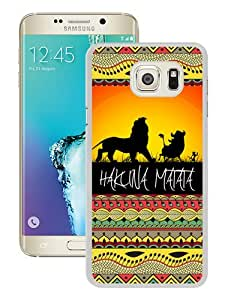 Unique Samsung Galaxy S6 Edge Plus Skin Case ,Hakuna Matata on Sunset Lion King white Samsung Galaxy S6 Edge+ Cover Fashionable And Durable Designed Phone Case