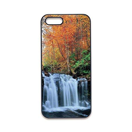 Funda para iPhone 5, iPhone 5S, diseño de borde negro, cascada, cascada y plantas de piscina natural claras, vista del día...