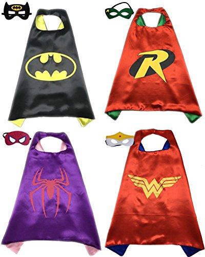 [4 Pack Superhero or Princess CAPE & MASK SETS Kids Childrens Halloween Costumes (Batman Robin Spidergirl Wonderwoman)] (Robin The Boy Wonder Costumes)