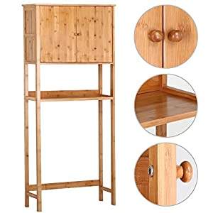 yaheetech bamboo over toilet cabinet bathroom storage organizer home kitchen. Black Bedroom Furniture Sets. Home Design Ideas