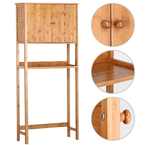 Yaheetech Bamboo Over Toilet Cabinet Bathroom Storage Organizer