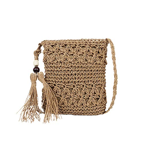 (Crossbody Shoulder Bags for Women,Rattan Weave Bag Summer Beach Travel Handwoven Purse and Handbags with Tassels (1739CM, Brown))