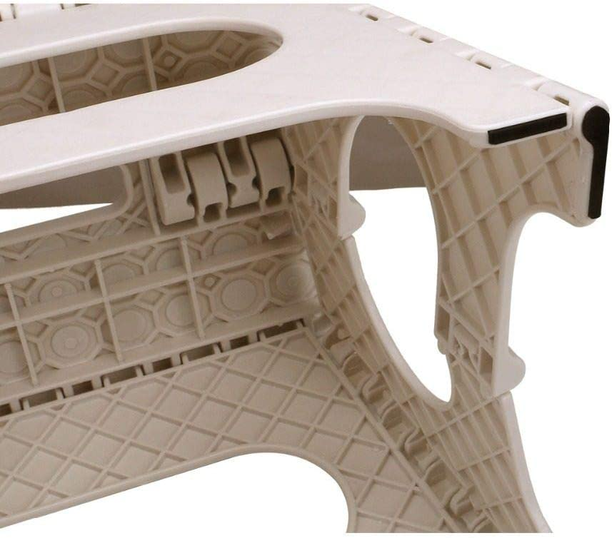 ZFLL Klapptische und Stühle -niqueReisen Camping im Freien Klappbarer Tritthocker Kunststoff Tragegriff Tragbarer Klappstuhl Anti-Rutsch-Badezimmerhocker 29x22x27CM Weiß 15 Zoll