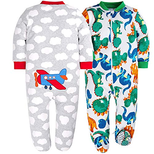 HONGLIN Baby Boys 2-Pack Footed Baby Pajamas Sleepers Rompers 100% Cotton with Non-Slipping Sole (Pajama Cotton Animal)