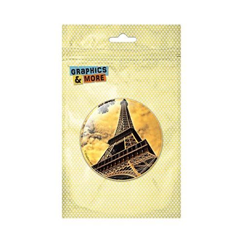 Vintage Pinback Button - Eiffel Tower Paris Vintage Pinback Button Pin Badge - 1 Inch Diameter