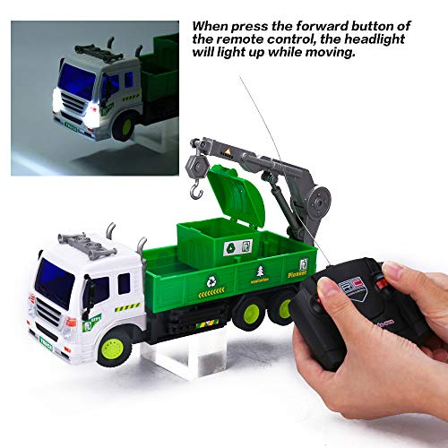 EsOfficce Remote Control Garbage Truck, 4 WD Recycle RC Garbage Crane Truck,1:16 RC Large Vehicle with Light