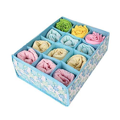 (ompson 12 Cell Fabric Organizer Storage Box Socks Underwear Bra Drawer Closet Baskets Divider For Underwear Scarfs Socks Bra Blue)