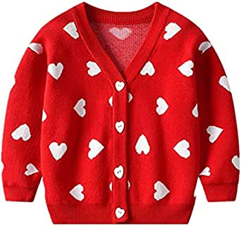 Carolilly Jersey de moda para niña recién nacida de manga larga con estampado de corazón