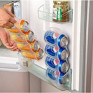 Haxikocty Soda Can Rack Beverage Dispenser,2 Layer Refrigerator Beverage Storage Shelf Cola Beer Holder Kitchen Organize