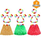 Gejoy 3 Set Assorted Color Kid's Elastic Hawaiian Hula Dancer Grass Skirt with Flower Leis Set