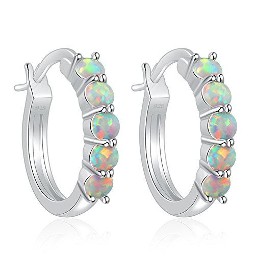 (CiNily Created White Fire Opal for Women Jewelry Gemstone Rhodium Plated Hoop Earrings 20mm)