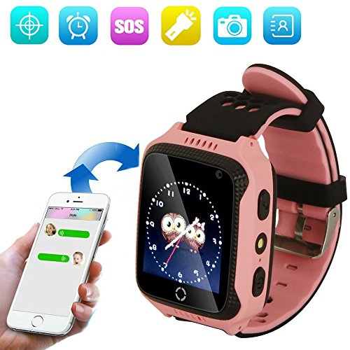 Kids GPS Smart Watch, Child Watch Tracker with Camera, GPS Smartwatch with Phone Calls and Anti-lost SOS Button, Watch Phone Smart Bracelet for Girls Boys Android iOS Tracking Watch Flashlight JU-M05 (Pink)