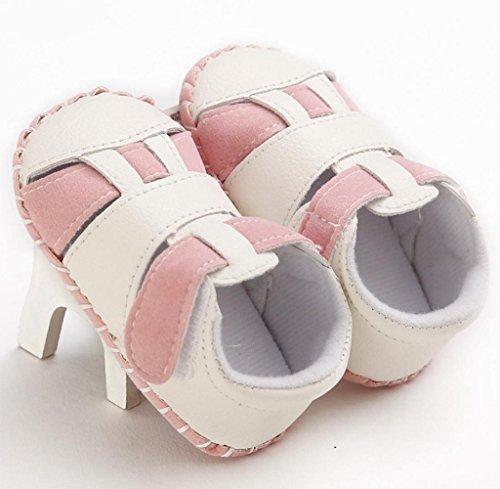 Zapatos de bebé,Tongshi Toddler Girls Boys Cuna Empalme único Bebé Antideslizante Suave Zapatillas Sandalias Zapatos Rosa