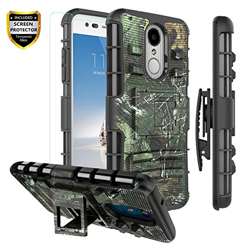 - LG Aristo 3 Case,LG Aristo 2 Case/LG Aristo 2 Plus/Rebel 4 LTE/Tribute Empire/Zone 4/Phoenix 4/Risio 3/K8 2018/ K8 Plus/Fortune 2 Case, Armor Rugged Case Belt Clip Holster/Glass Screen Protector,Camo