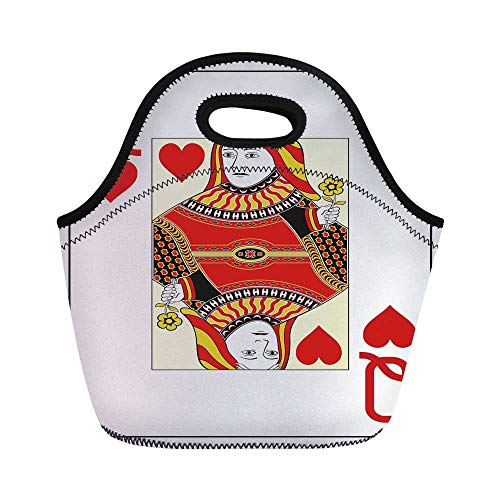 Queen Durable Lunch Bag,Queen of Hearts Playing Card Casino Decor Gambling Game Poker Blackjack Deck for School Office,11.0