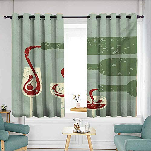 AndyTours Home Curtains,Wine Grungy Aged Display with Wine Pouring into Glasses Stylized Retro,Grommet Curtains for Bedroom,W72x45L,Almond Green Olive Green Ruby