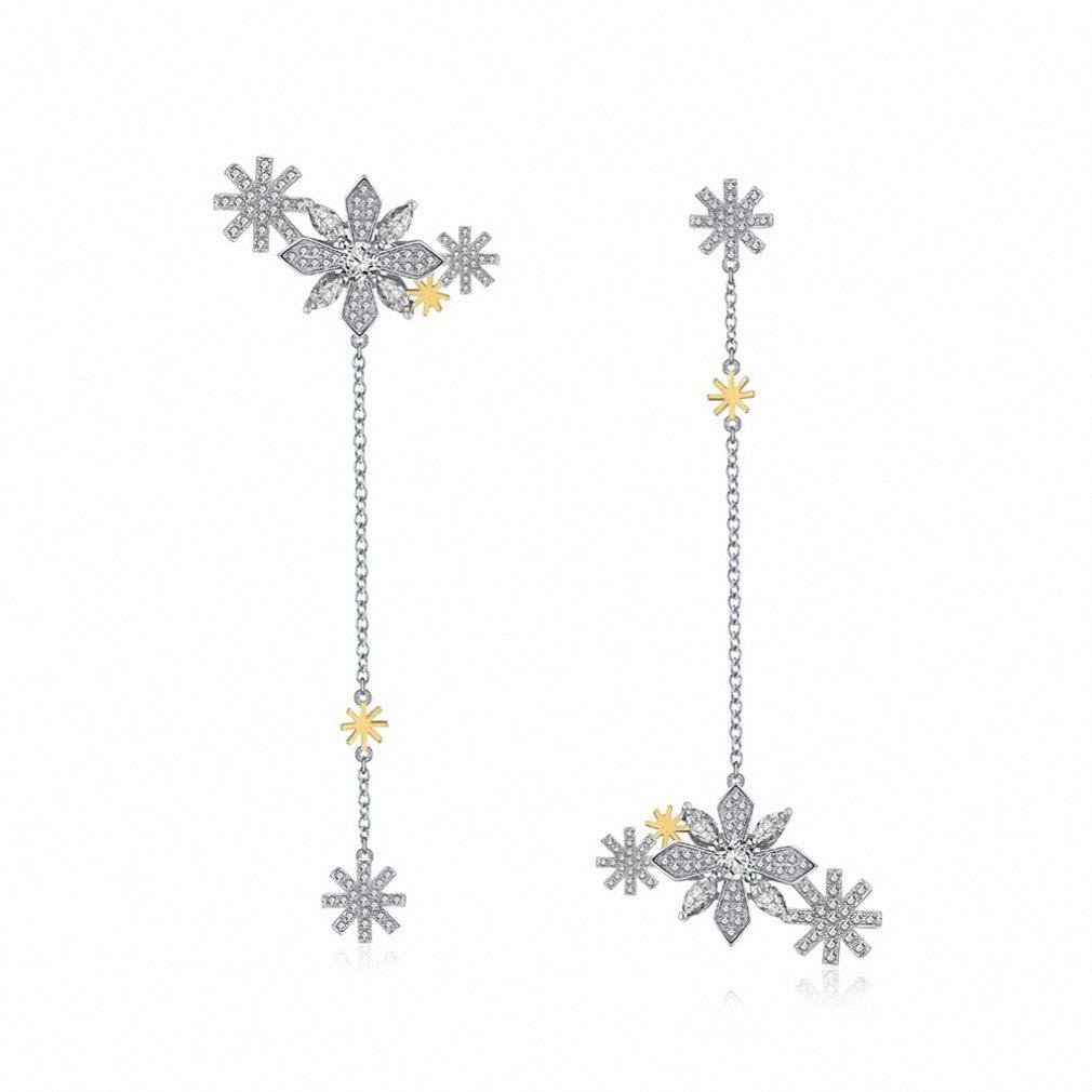 Womens Drop Dangle Earrings Women Long Drop Earrings Snowflake Pattern 85mm Length Chain Asymmetry Earring Fashion Girl Party Jewelry