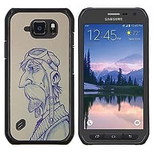 Piloto Bosquejo del gráfico del hombre del bigote- Metal de aluminio y de plástico duro Caja del teléfono - Negro - Samsung Galaxy S6 active / SM-G890 (NOT S6)