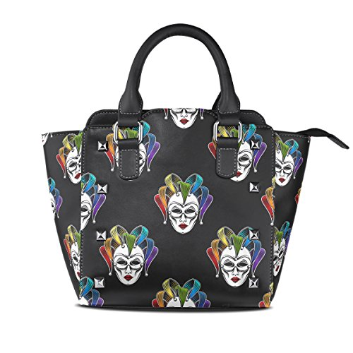 Sunlome Rainbow Venetian Canrnival Mask Pattern Women's Leather Tote Shoulder Bags Handbags