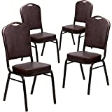 Flash Furniture 4 Pk. HERCULES Series Crown Back Stacking Banquet Chair in Brown Vinyl - Copper Vein Frame